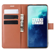 OPPRO OnePlus 7T Pro Wallet Flip Case Braun