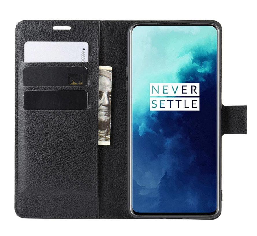 OnePlus 7T Pro Wallet Flip Case Schwarz