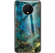 OPPRO OnePlus 7T Glass Design Hoesje Donker Turquoise