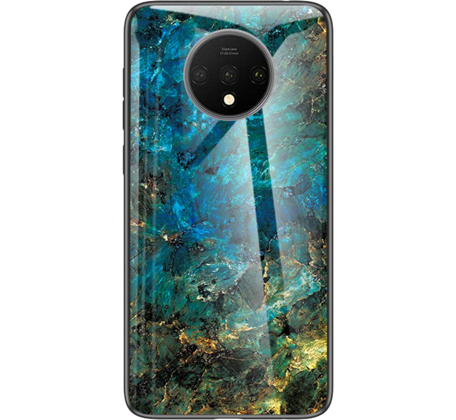 OnePlus 7T Glass Design Hoesje Donker Turquoise