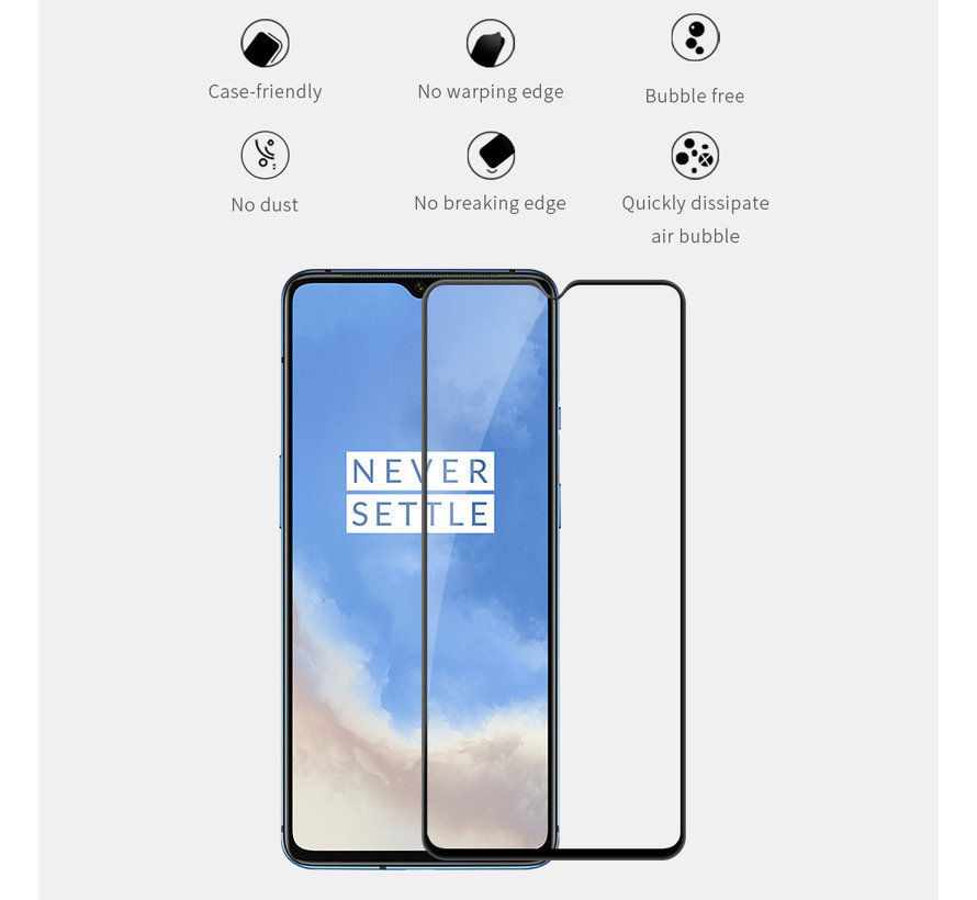 OnePlus 7T Displayschutzfolie 2.5D aus gehärtetem Glas