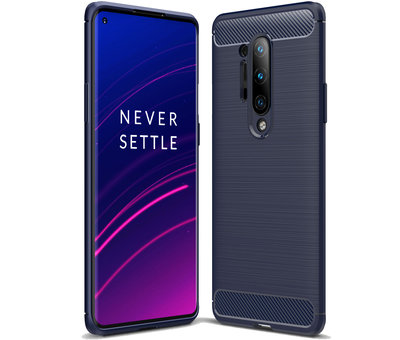 OPPRO OnePlus 8 Pro Hoesje Brushed Carbon Blauw