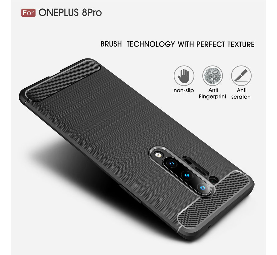 OnePlus 8 Pro Hoesje Brushed Carbon Blauw
