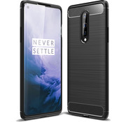 OPPRO OnePlus 8 Hoesje Brushed Carbon Zwart