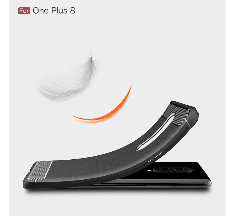 OnePlus 8 Hoesje Brushed Carbon Zwart