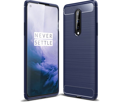 OPPRO OnePlus 8 Hoesje Brushed Carbon Blauw