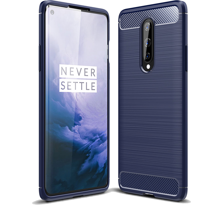 OnePlus 8 Hoesje Brushed Carbon Blauw