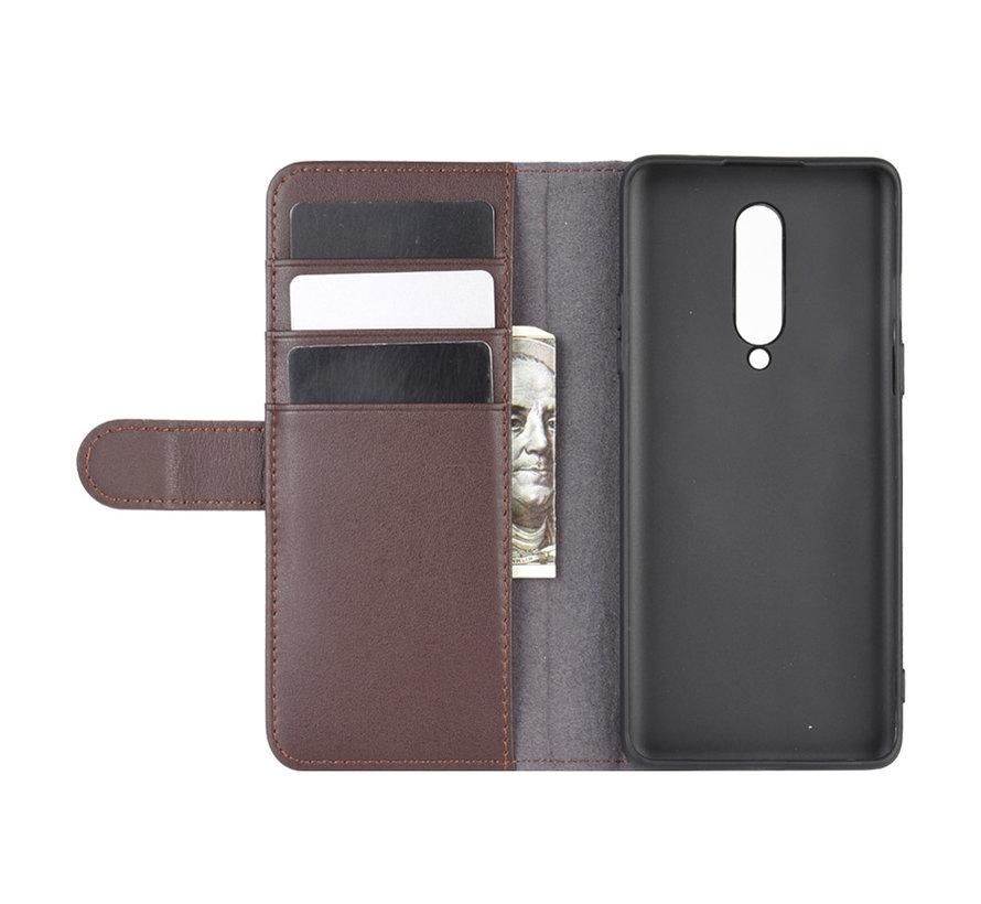 OnePlus 8 Wallet Case Echtes Leder Braun