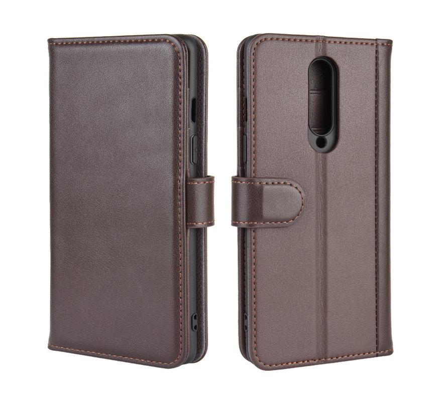 OnePlus 8 Wallet Hoesje Echt Leder Bruin