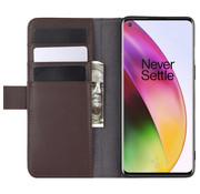 OPPRO OnePlus 8 Wallet Hoesje Echt Leder Bruin