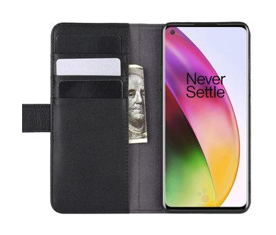 OPPRO OnePlus 8 Wallet Hoesje Echt Leder Zwart