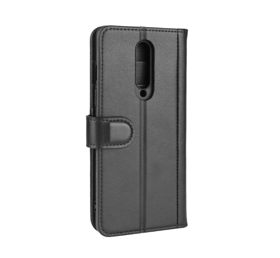 OnePlus 8 Wallet Hoesje Echt Leder Zwart