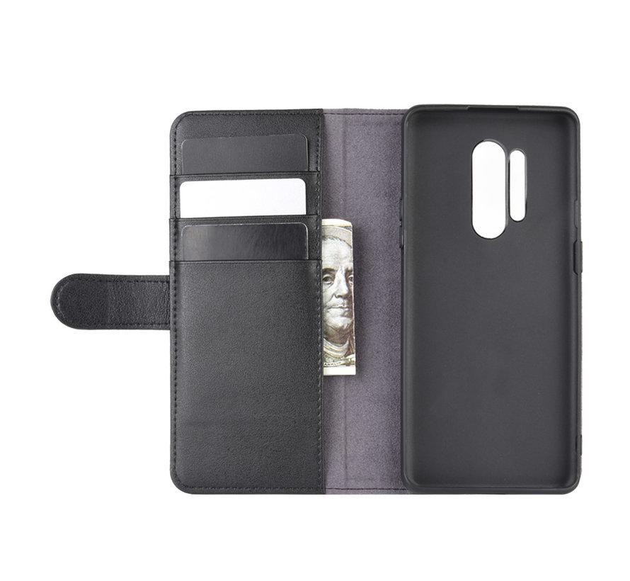 OnePlus 8 Pro Wallet Case Echtleder Schwarz