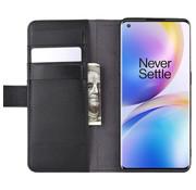 OPPRO OnePlus 8 Pro Wallet Hoesje Echt Leder Zwart