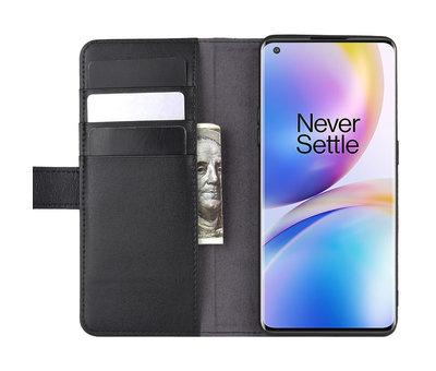 OPPRO OnePlus 8 Pro Wallet Case Echtleder Schwarz