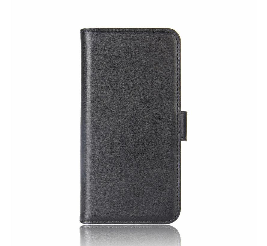 OnePlus 8 Pro Wallet Hoesje Echt Leder Zwart
