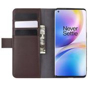 OPPRO OnePlus 8 Pro Wallet Hoesje Echt Leder Bruin