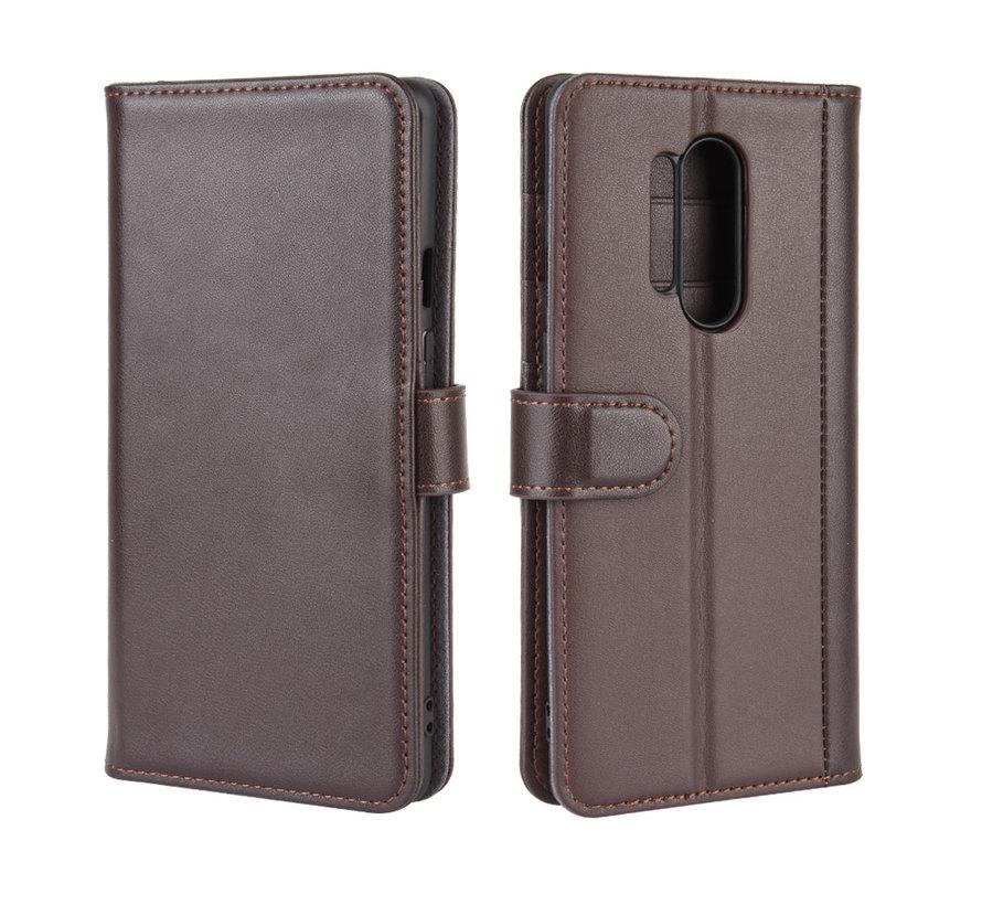 OnePlus 8 Pro Wallet Hoesje Echt Leder Bruin