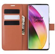 OPPRO OnePlus 8 Wallet Flip Case Bruin