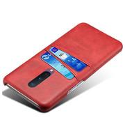 OPPRO OnePlus 8 Hoesje Slim Leder Kaarthouder Rood