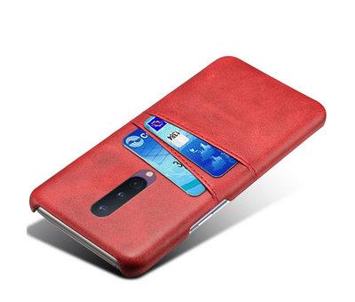 OPPRO OnePlus 8 Case Slim Leder Kartenhalter Rot