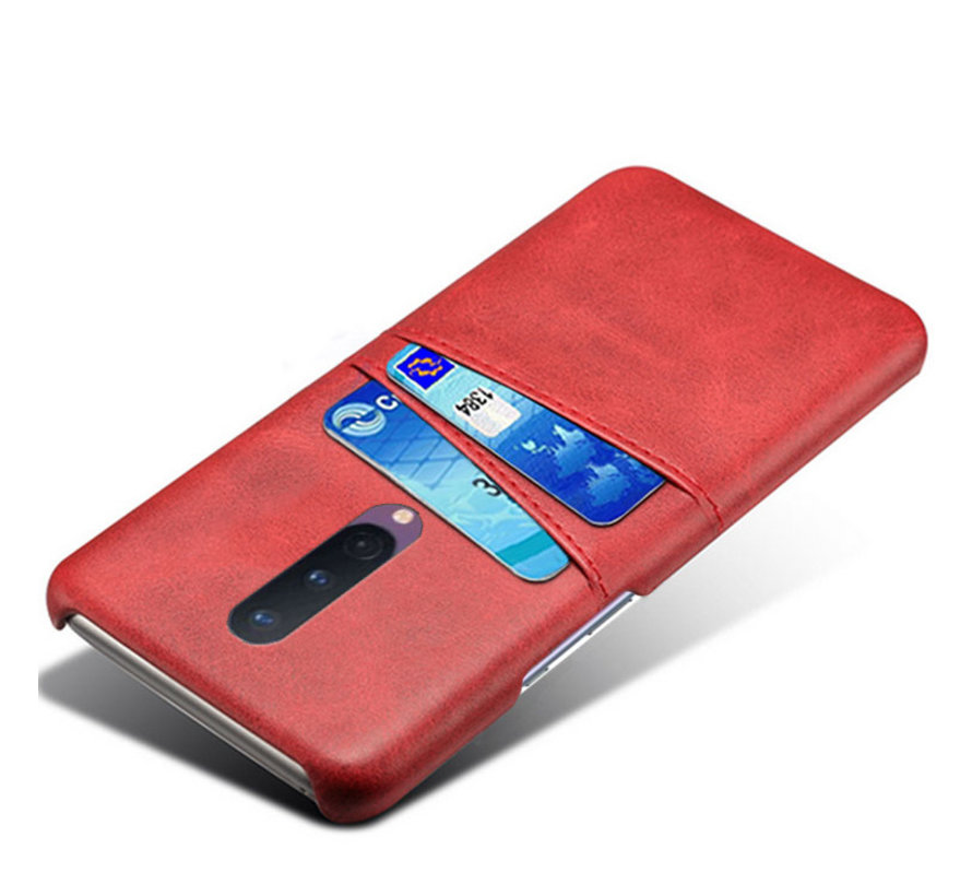 OnePlus 8 Case Slim Leder Kartenhalter Rot