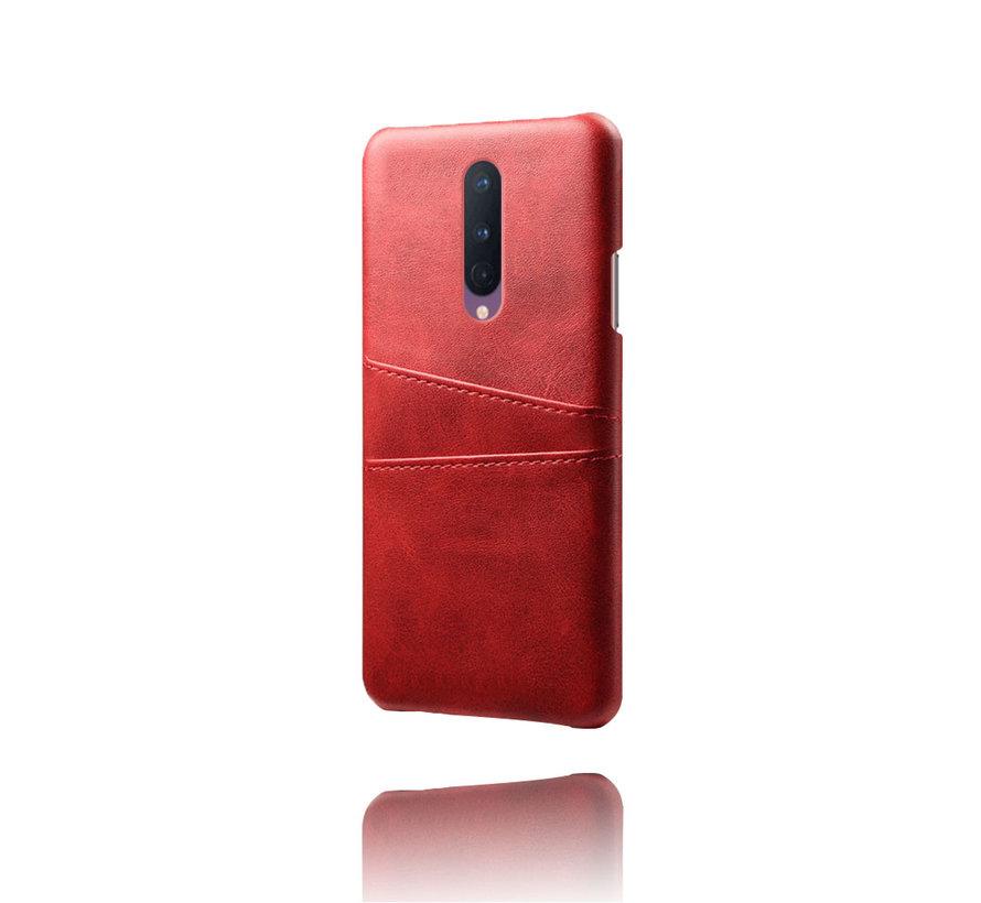OnePlus 8 Hoesje Slim Leder Kaarthouder Rood