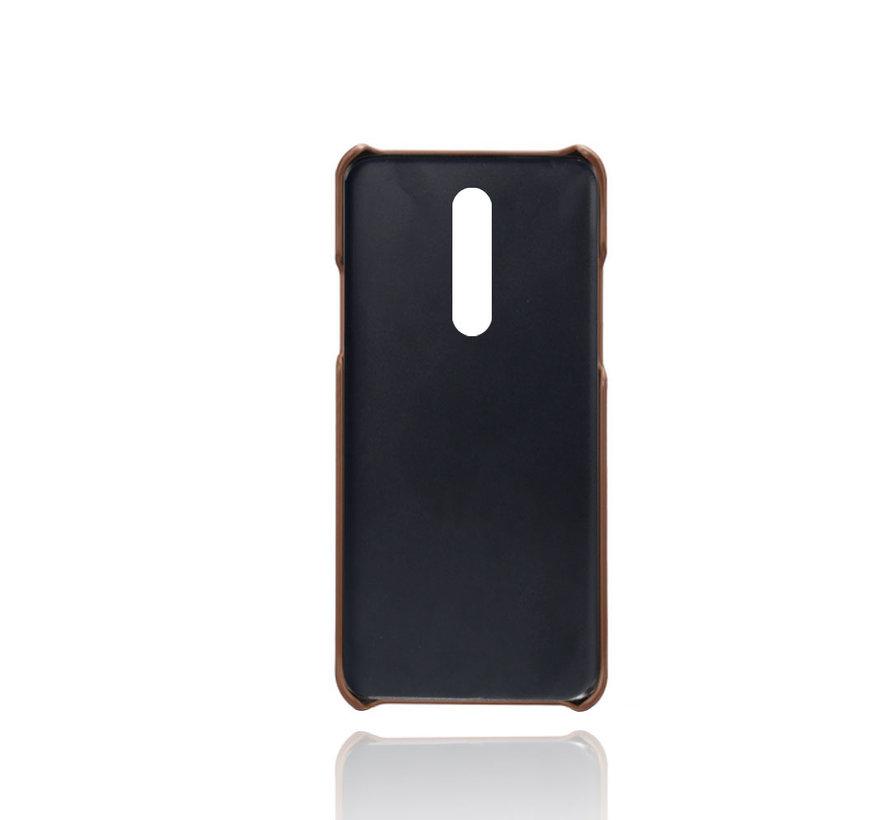 OnePlus 8 Case Slim Leder Kartenhalter Braun
