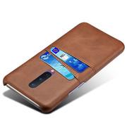 OPPRO OnePlus 8 Case Slim Leder Kartenhalter Braun