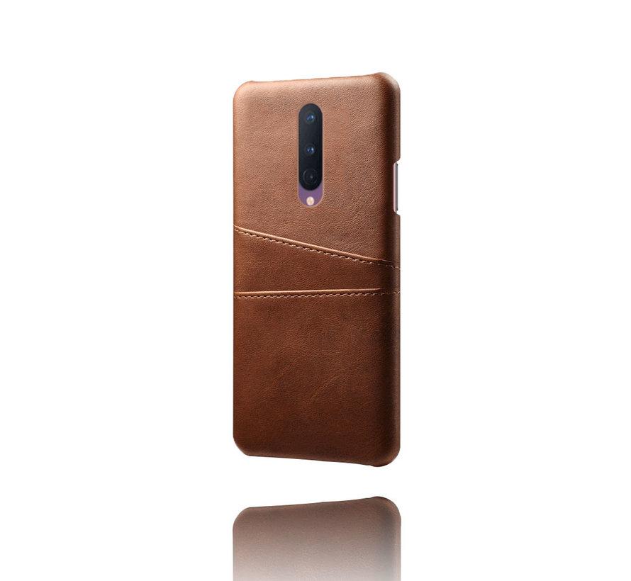 OnePlus 8 Hoesje Slim Leder Kaarthouder Bruin