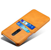 OPPRO OnePlus 8 Case Slim Leather Card Holder Cognac