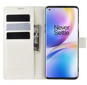 OPPRO OnePlus 8 Pro Brieftasche Flip Case Weiß
