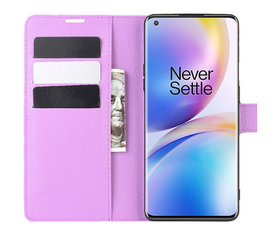OPPRO OnePlus 8 Pro Brieftasche Flip Case Lila