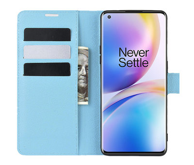 OPPRO OnePlus 8 Pro Wallet Flip Case Blauw