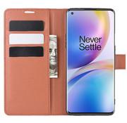 OPPRO OnePlus 8 Pro Wallet Flip Case Bruin