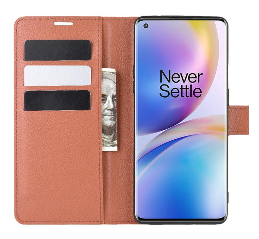 OnePlus 8 Pro Brieftasche Flip Case Braun
