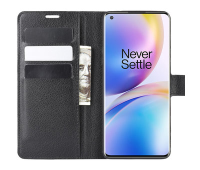 OPPRO OnePlus 8 Pro Wallet Flip Case Zwart