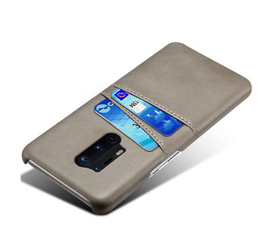 OPPRO OnePlus 8 Pro Case Kartenhalter aus schmalem Leder Grau