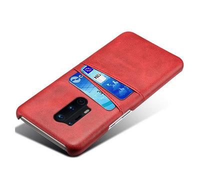 OPPRO OnePlus 8 Pro Hoesje Slim Leder Kaarthouder Rood