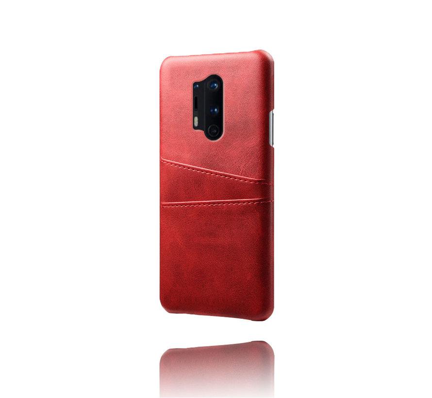 OnePlus 8 Pro Case Kartenhalter aus schmalem Leder Rot