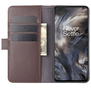 OPPRO OnePlus Nord Wallet Case Genuine Leather Brown