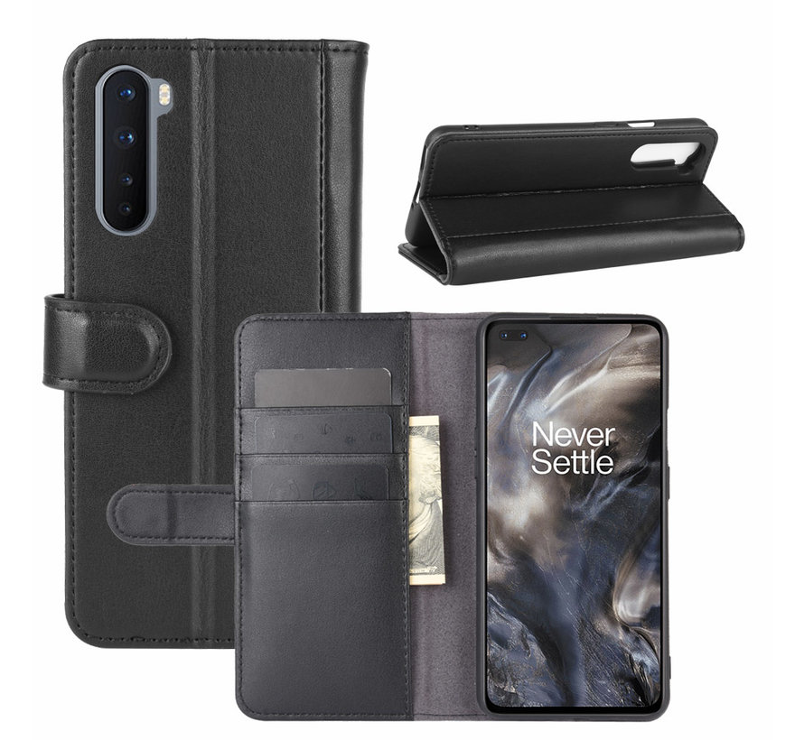 OnePlus Nord Wallet Hoesje Echt Leder Zwart