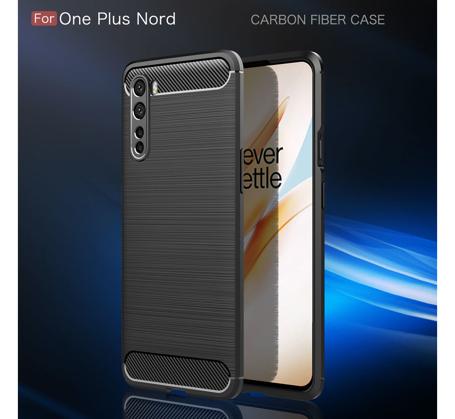 OnePlus Nord Hoesje Brushed Carbon Zwart