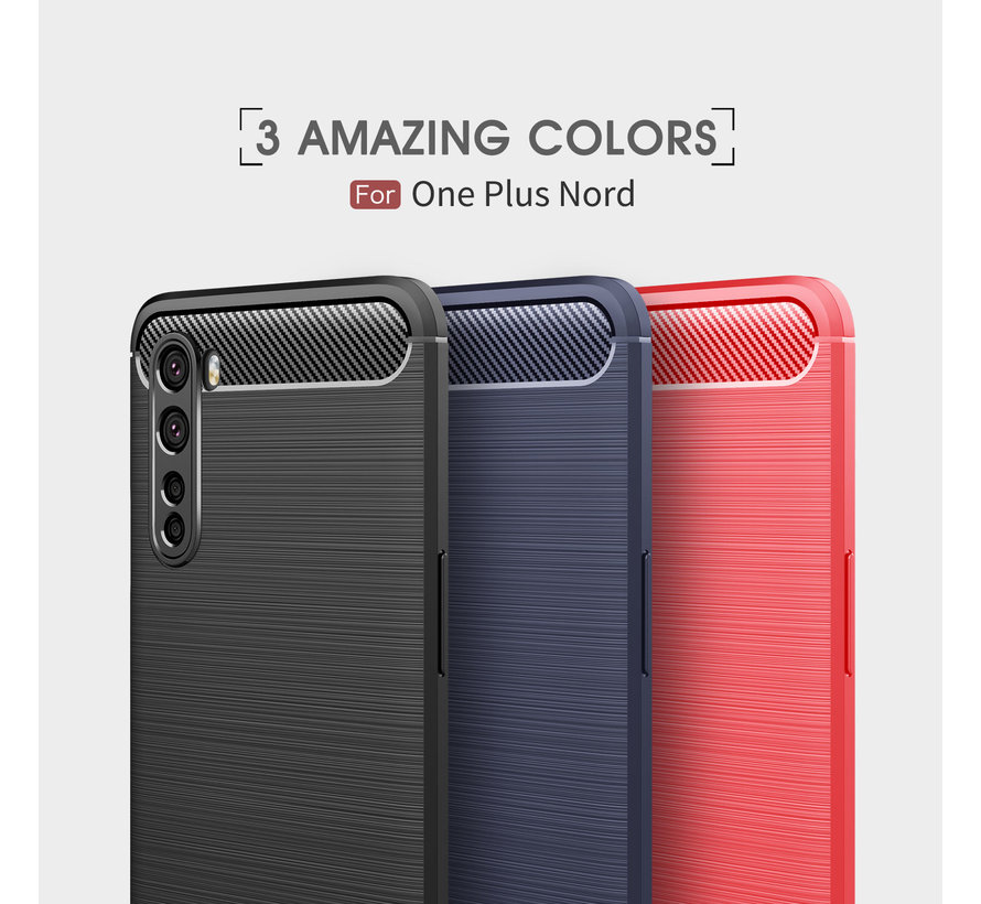 OnePlus Nord Hoesje Brushed Carbon Rood
