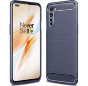 OPPRO OnePlus Nord Hoesje Brushed Carbon Blauw