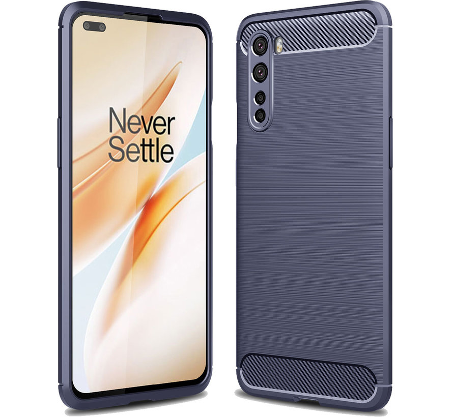 OnePlus Nord Hoesje Brushed Carbon Blauw