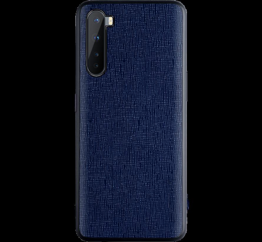 OnePlus Nord Hoesje Canvas Grain Blauw