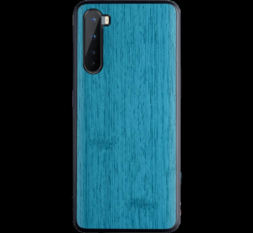 OnePlus Nord Hoesje Wood Grain Blauw