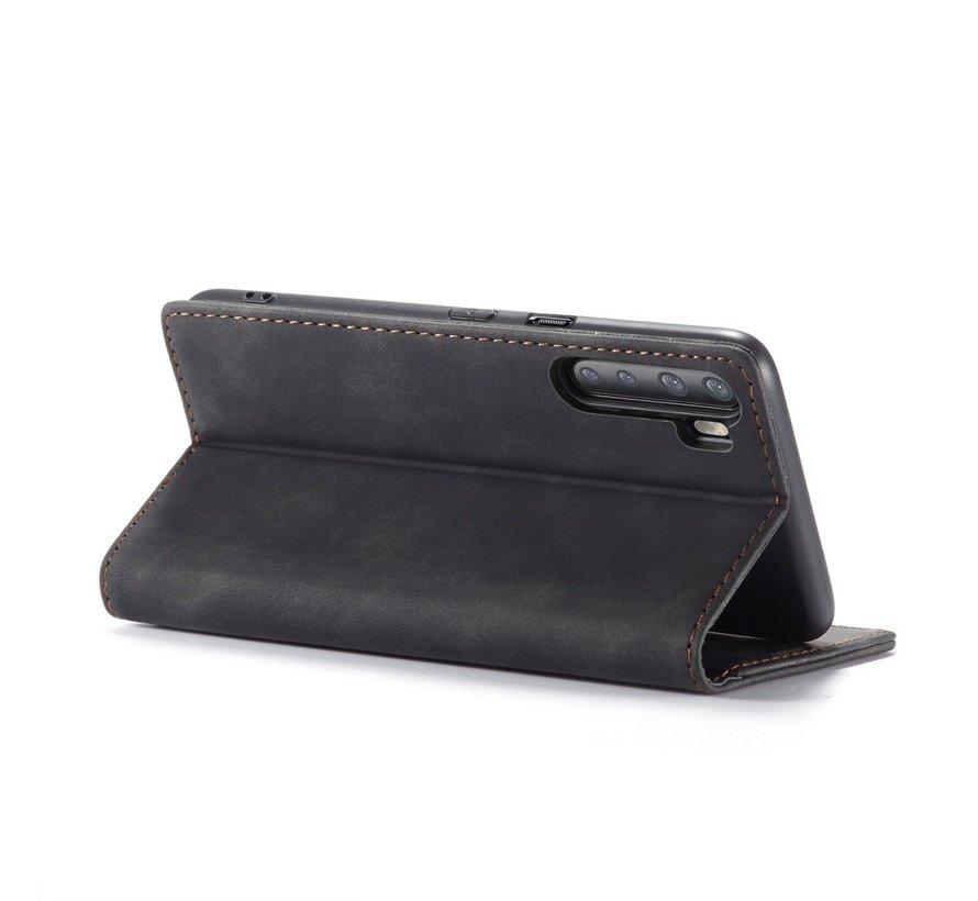 OnePlus Nord Wallet Hoesje Vintage Leder Zwart