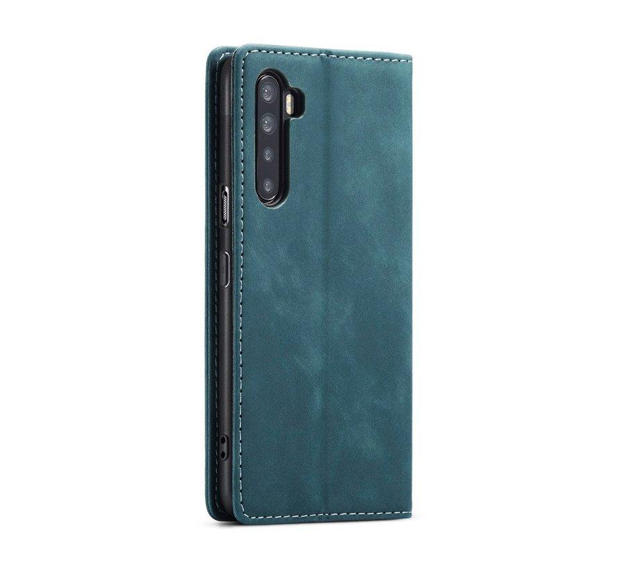 OnePlus Nord Wallet Hoesje Vintage Leder Blauw